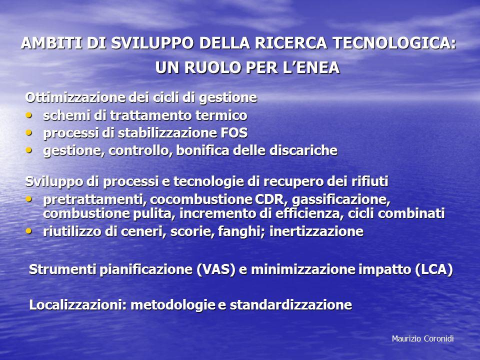 Maurizio Coronidi AMBITI DI SVILUPPO DELLA RICERCA TECNOLOGICA: UN RUOLO PER L'ENEA Ottimizzazione dei cicli di gestione schemi di trattamento termico