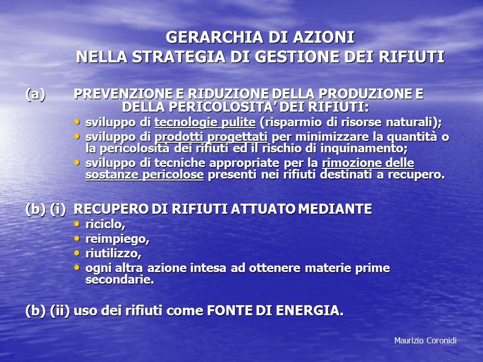 Maurizio Coronidi GERARCHIA DI AZIONI NELLA STRATEGIA DI GESTIONE DEI RIFIUTI (a) PREVENZIONE E RIDUZIONE DELLA PRODUZIONE E DELLA PERICOLOSITA' DEI R