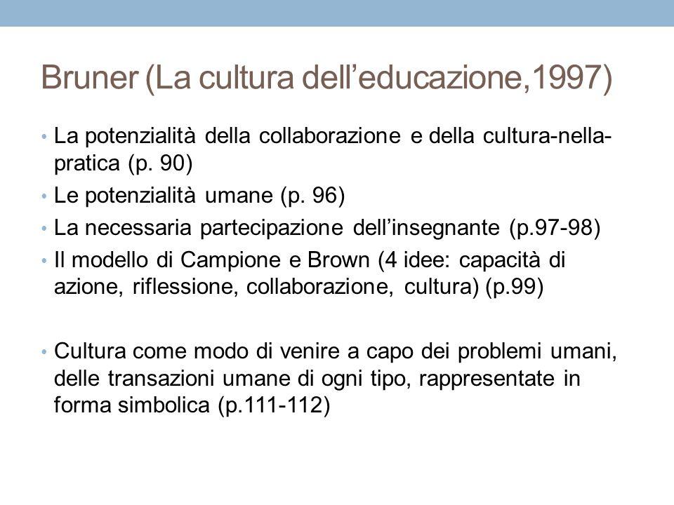 Bruner (La cultura dell'educazione,1997) La potenzialità della collaborazione e della cultura-nella- pratica (p. 90) Le potenzialità umane (p. 96) La
