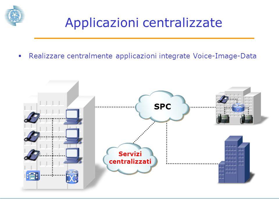 Servizi centralizzati Applicazioni centralizzate  Realizzare centralmente applicazioni integrate Voice-Image-Data SPC