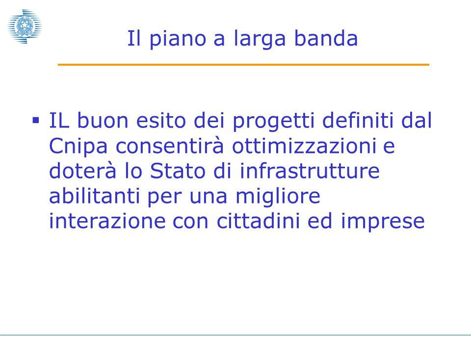  IL buon esito dei progetti definiti dal Cnipa consentirà ottimizzazioni e doterà lo Stato di infrastrutture abilitanti per una migliore interazione con cittadini ed imprese Il piano a larga banda