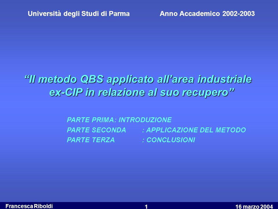 """Francesca Riboldi 16 marzo 20041 """"Il metodo QBS applicato all'area industriale ex-CIP in relazione al suo recupero"""" PARTE PRIMA: INTRODUZIONE PARTE SE"""