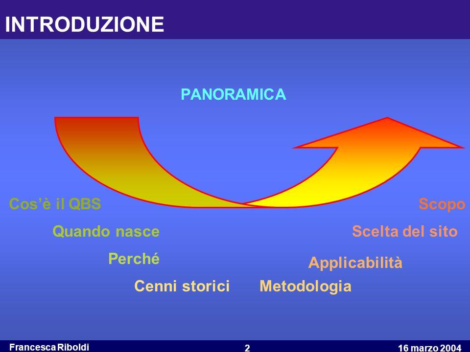 Francesca Riboldi 16 marzo 20042 INTRODUZIONE PANORAMICA Cos'è il QBS Quando nasce Perché Cenni storici Scelta del sito Scopo Metodologia Applicabilit