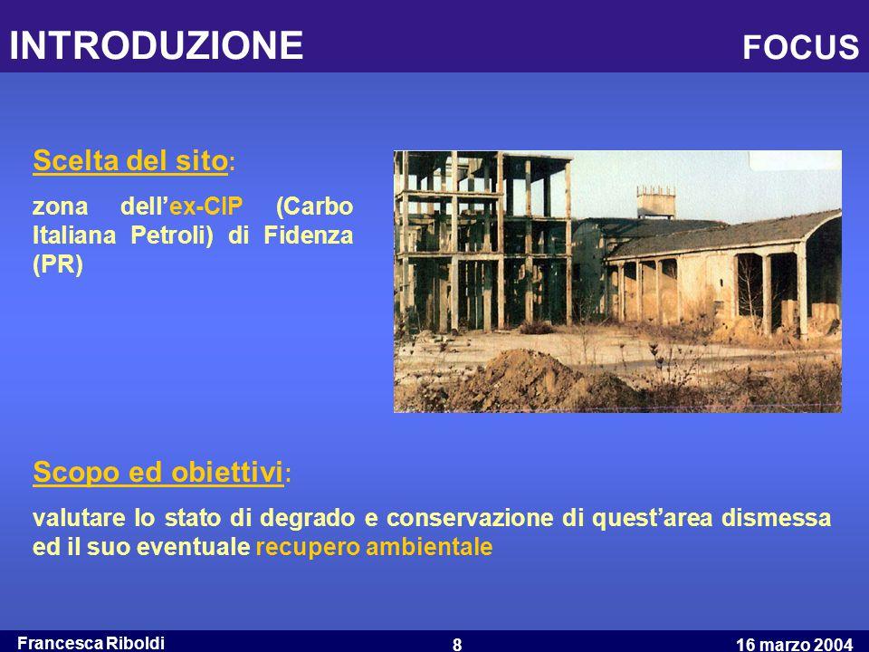 Francesca Riboldi 16 marzo 20048 INTRODUZIONE FOCUS Scelta del sito : zona dell'ex-CIP (Carbo Italiana Petroli) di Fidenza (PR) Scopo ed obiettivi : v