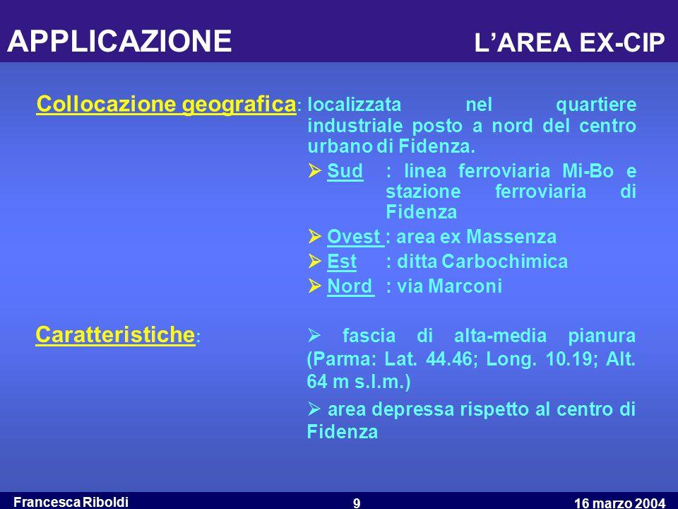 Francesca Riboldi 16 marzo 20049 APPLICAZIONE L'AREA EX-CIP Collocazione geografica : localizzata nel quartiere industriale posto a nord del centro ur