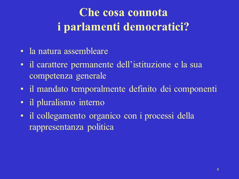 2 Che cosa connota i parlamenti democratici? la natura assembleare il carattere permanente dell'istituzione e la sua competenza generale il mandato te
