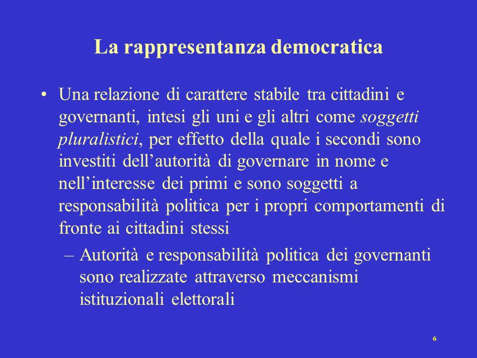 6 La rappresentanza democratica Una relazione di carattere stabile tra cittadini e governanti, intesi gli uni e gli altri come soggetti pluralistici,