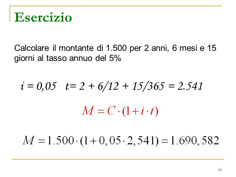 16 Esercizio Calcolare il montante di 1.500 per 2 anni, 6 mesi e 15 giorni al tasso annuo del 5% i = 0,05 t= 2 + 6/12 + 15/365 = 2.541