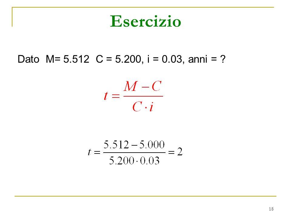 18 Esercizio Dato M= 5.512 C = 5.200, i = 0.03, anni = ?