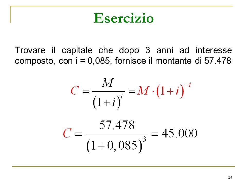 24 Esercizio Trovare il capitale che dopo 3 anni ad interesse composto, con i = 0,085, fornisce il montante di 57.478