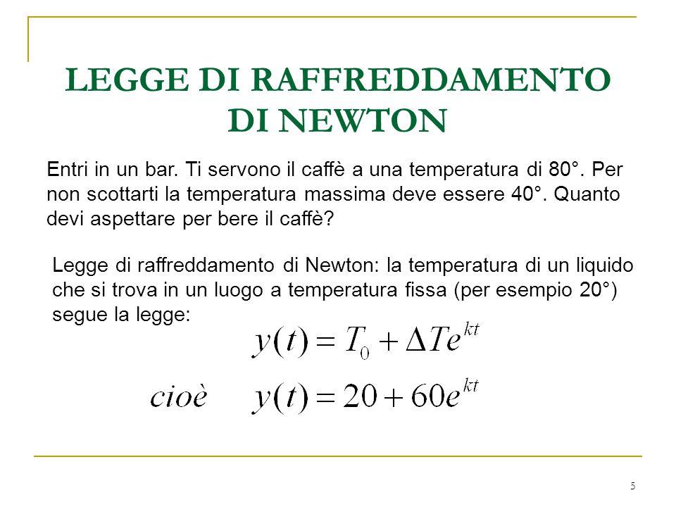 6 1) Si sa che in 5 minuti si passa da 80° a 30°.Determinare k (coeff.