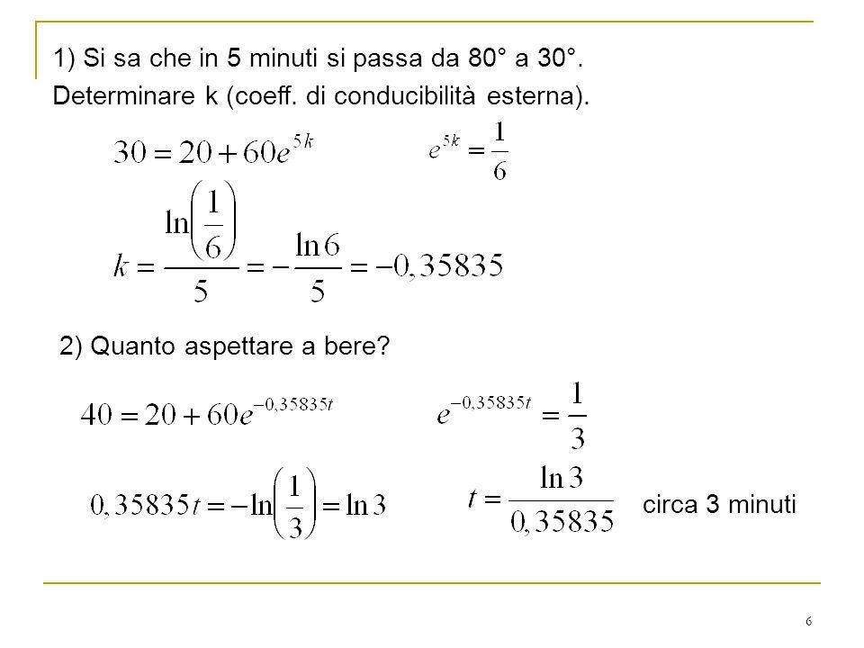 6 1) Si sa che in 5 minuti si passa da 80° a 30°. Determinare k (coeff. di conducibilità esterna). 2) Quanto aspettare a bere? circa 3 minuti