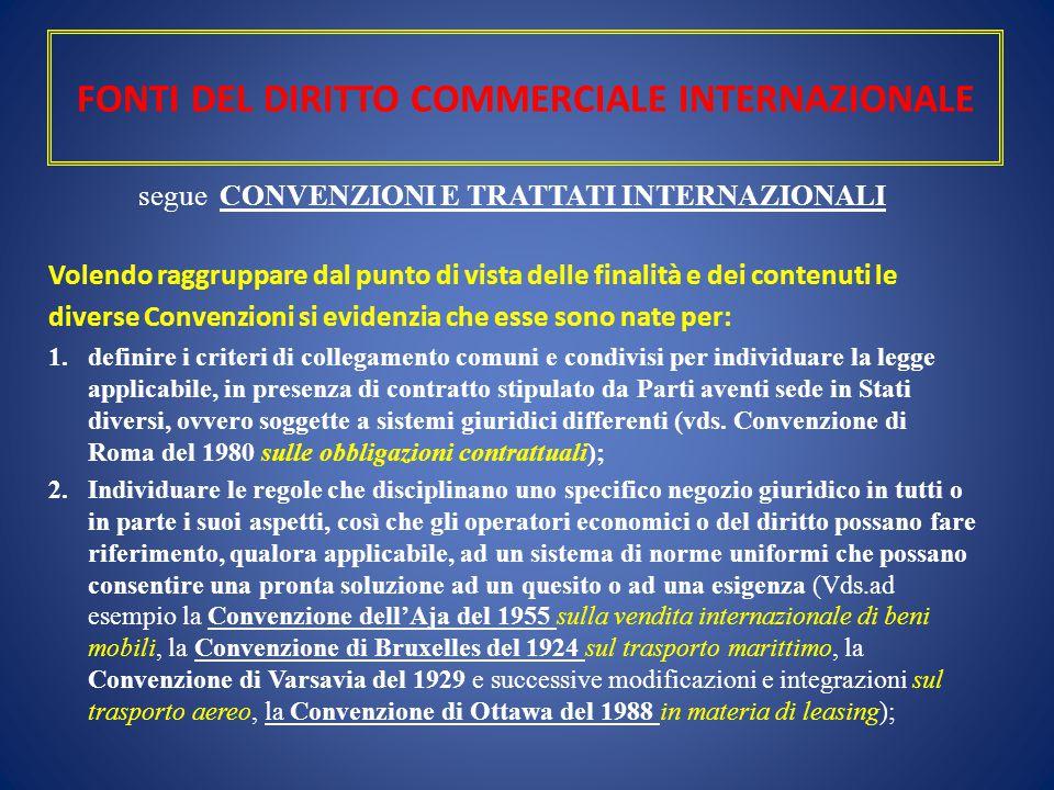 FONTI DEL DIRITTO COMMERCIALE INTERNAZIONALE segue CONVENZIONI E TRATTATI INTERNAZIONALI Volendo raggruppare dal punto di vista delle finalità e dei c