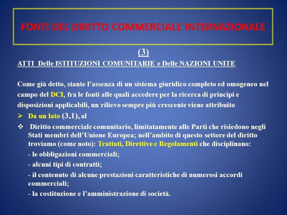 FONTI DEL DIRITTO COMMERCIALE INTERNAZIONALE (3) ATTI Delle ISTITUZIONI COMUNITARIE e Delle NAZIONI UNITE Come già detto, stante l'assenza di un siste