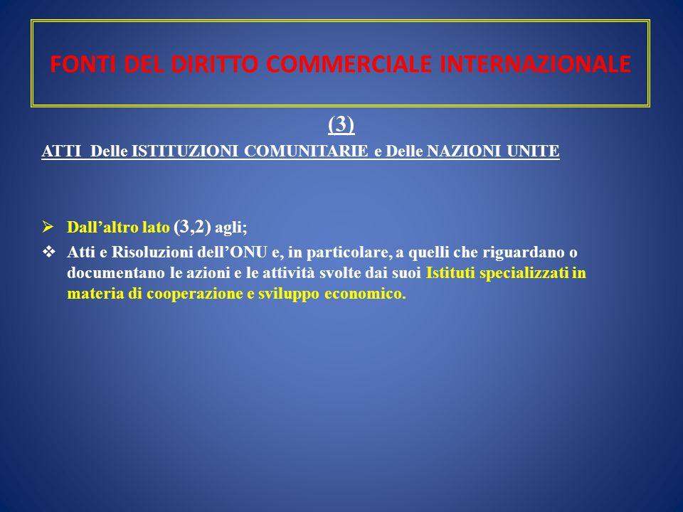 FONTI DEL DIRITTO COMMERCIALE INTERNAZIONALE (3) ATTI Delle ISTITUZIONI COMUNITARIE e Delle NAZIONI UNITE  Dall'altro lato (3,2) agli;  Atti e Risol