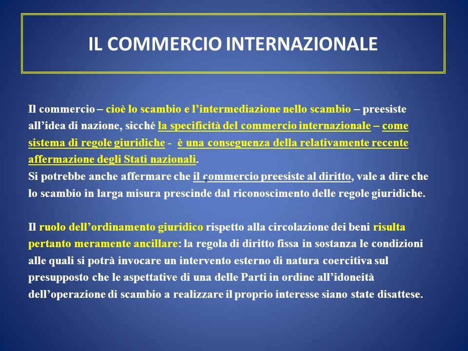 IL COMMERCIO INTERNAZIONALE Il commercio – cioè lo scambio e l'intermediazione nello scambio – preesiste all'idea di nazione, sicché la specificità de