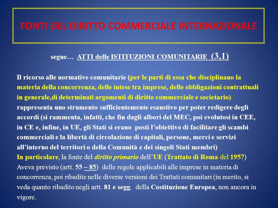FONTI DEL DIRITTO COMMERCIALE INTERNAZIONALE segue… ATTI delle ISTITUZIONI COMUNITARIE (3,1) Il ricorso alle normative comunitarie (per le parti di es