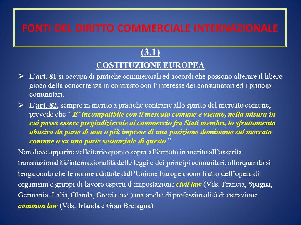 FONTI DEL DIRITTO COMMERCIALE INTERNAZIONALE (3,1) COSTITUZIONE EUROPEA  L'art. 81 si occupa di pratiche commerciali ed accordi che possono alterare