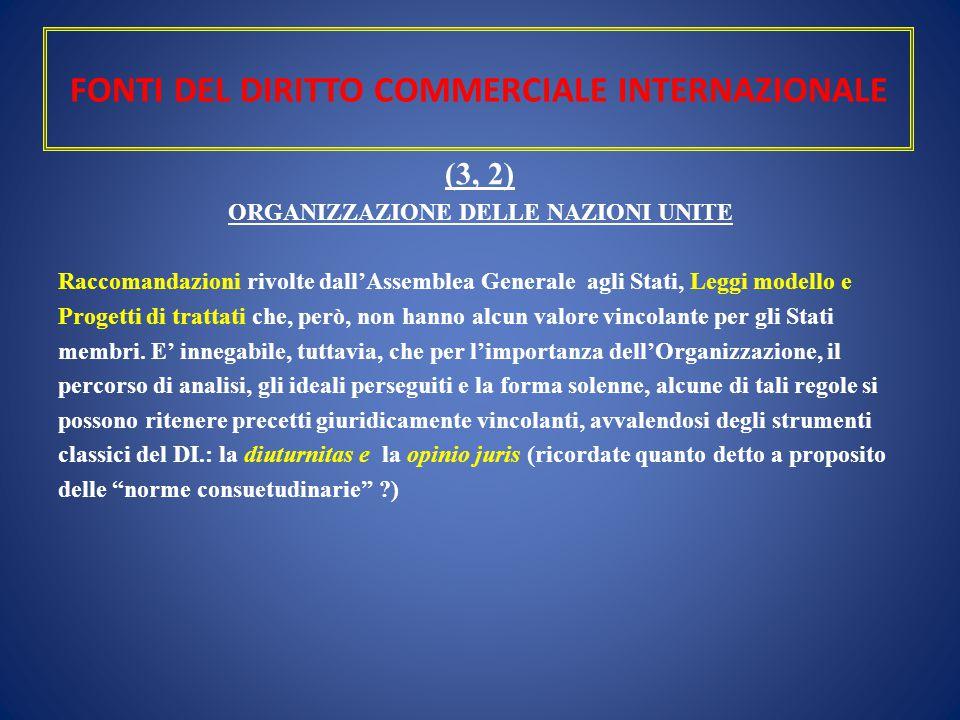 FONTI DEL DIRITTO COMMERCIALE INTERNAZIONALE (3, 2) ORGANIZZAZIONE DELLE NAZIONI UNITE Raccomandazioni rivolte dall'Assemblea Generale agli Stati, Leg