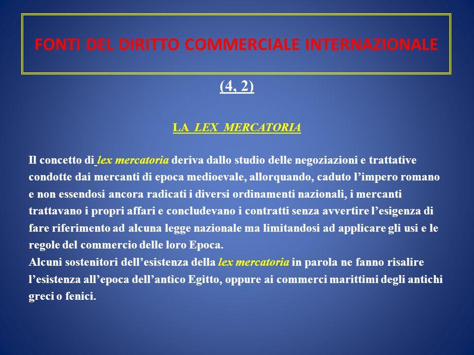 FONTI DEL DIRITTO COMMERCIALE INTERNAZIONALE (4, 2) LA LEX MERCATORIA Il concetto di lex mercatoria deriva dallo studio delle negoziazioni e trattativ