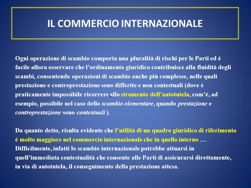IL COMMERCIO INTERNAZIONALE Ogni operazione di scambio comporta una pluralità di rischi per le Parti ed è facile allora osservare che l'ordinamento gi