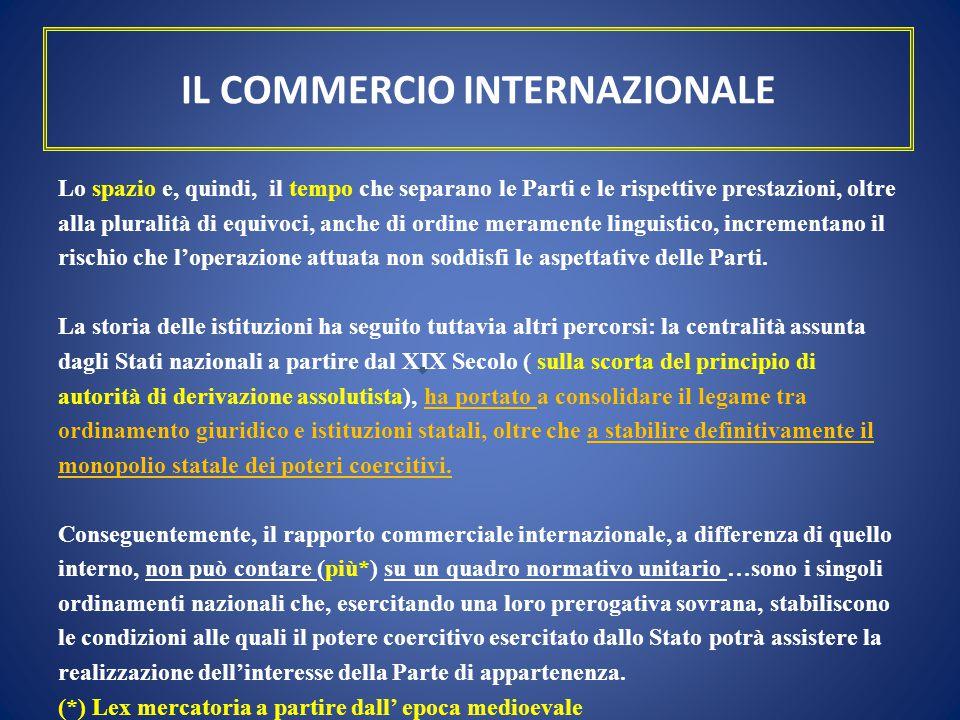 IL COMMERCIO INTERNAZIONALE Lo spazio e, quindi, il tempo che separano le Parti e le rispettive prestazioni, oltre alla pluralità di equivoci, anche d