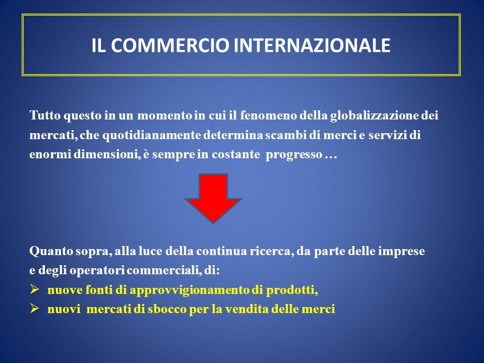 IL COMMERCIO INTERNAZIONALE Tutto questo in un momento in cui il fenomeno della globalizzazione dei mercati, che quotidianamente determina scambi di m