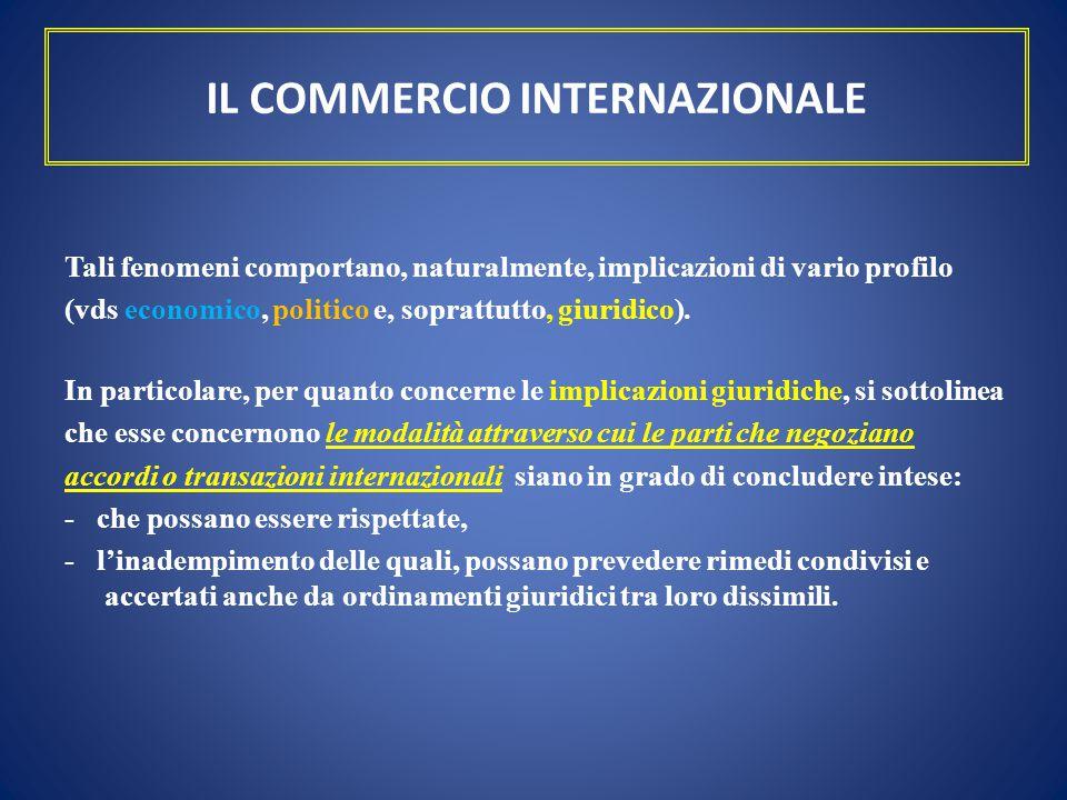 IL COMMERCIO INTERNAZIONALE Tali fenomeni comportano, naturalmente, implicazioni di vario profilo (vds economico, politico e, soprattutto, giuridico).