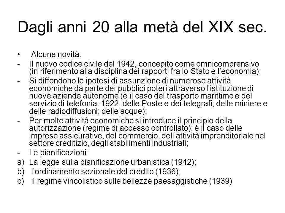Dagli anni 20 alla metà del XIX sec. Alcune novità: -Il nuovo codice civile del 1942, concepito come omnicomprensivo (in riferimento alla disciplina d