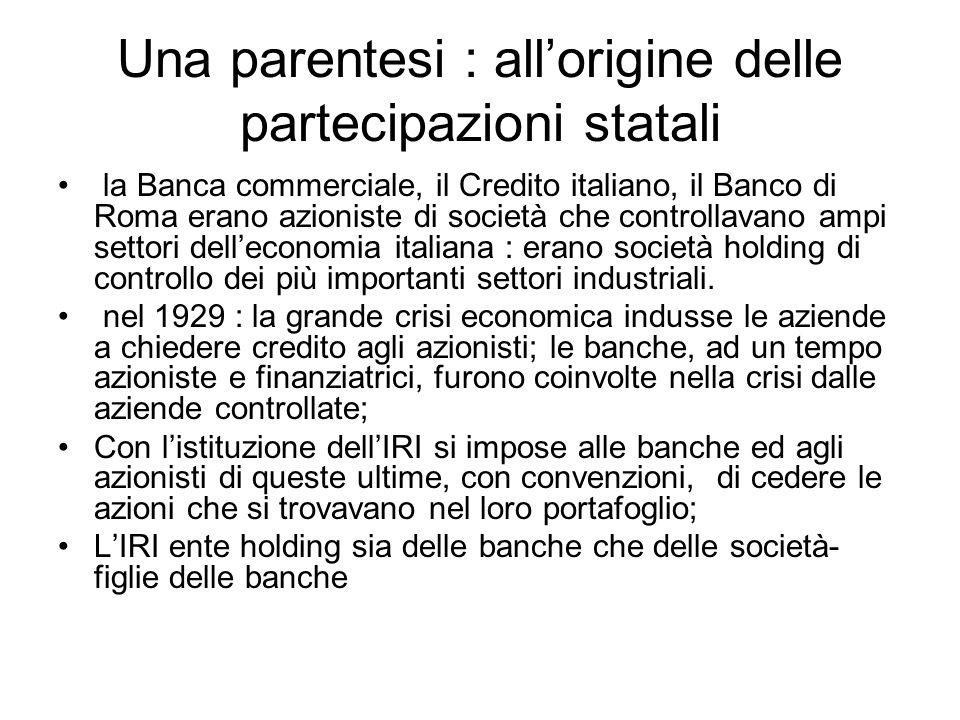 Una parentesi : all'origine delle partecipazioni statali la Banca commerciale, il Credito italiano, il Banco di Roma erano azioniste di società che co