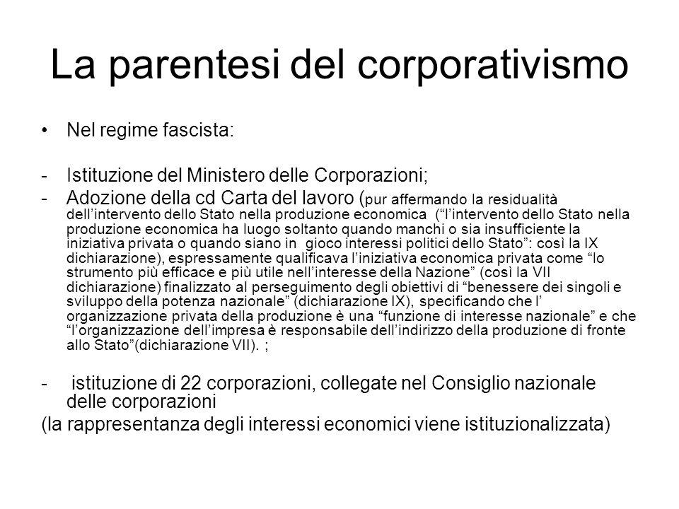 La parentesi del corporativismo Nel regime fascista: -Istituzione del Ministero delle Corporazioni; -Adozione della cd Carta del lavoro ( pur afferman