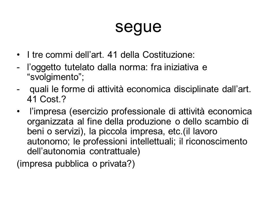 """segue I tre commi dell'art. 41 della Costituzione: -l'oggetto tutelato dalla norma: fra iniziativa e """"svolgimento""""; - quali le forme di attività econo"""