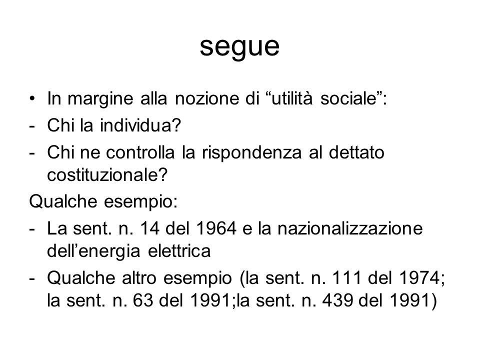 """segue In margine alla nozione di """"utilità sociale"""": -Chi la individua? -Chi ne controlla la rispondenza al dettato costituzionale? Qualche esempio: -L"""