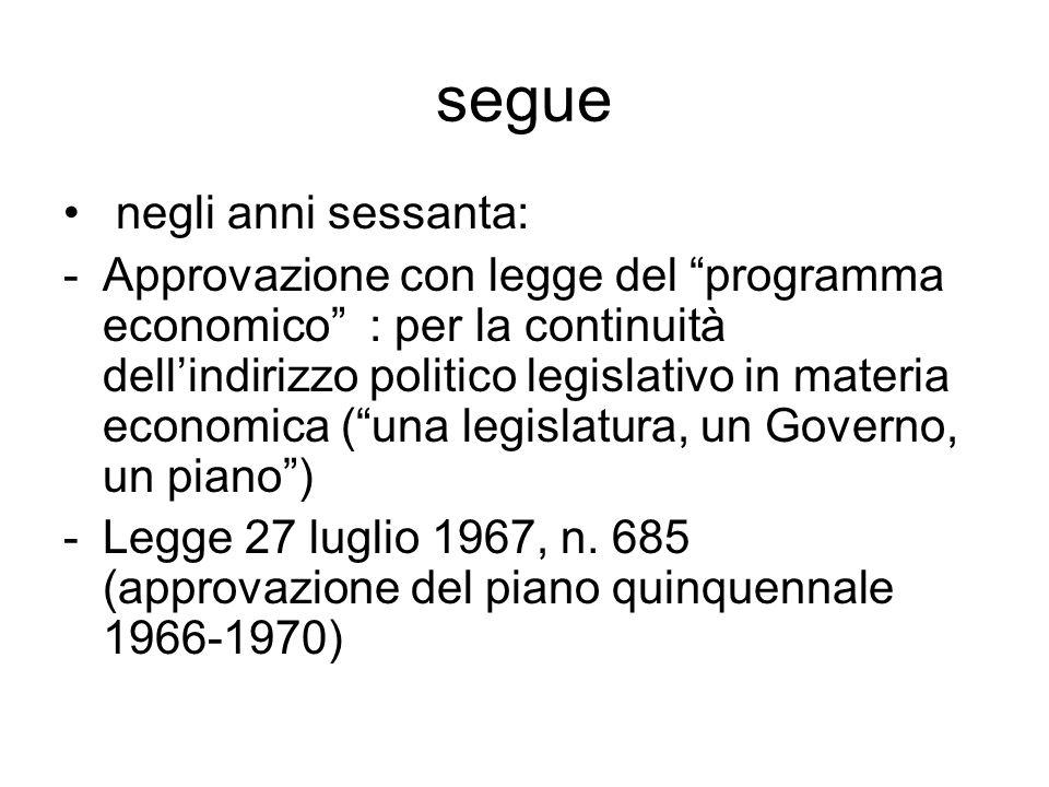"""segue negli anni sessanta: -Approvazione con legge del """"programma economico"""" : per la continuità dell'indirizzo politico legislativo in materia econom"""