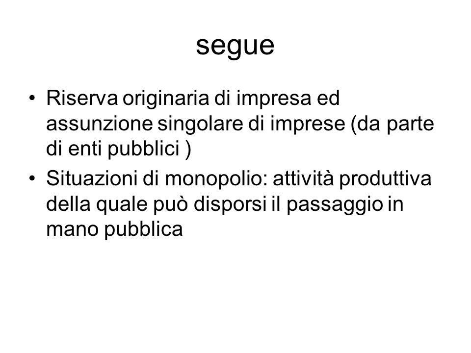 segue Riserva originaria di impresa ed assunzione singolare di imprese (da parte di enti pubblici ) Situazioni di monopolio: attività produttiva della