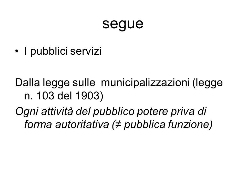 segue I pubblici servizi Dalla legge sulle municipalizzazioni (legge n. 103 del 1903) Ogni attività del pubblico potere priva di forma autoritativa (≠