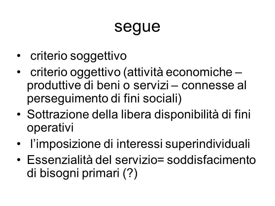 segue criterio soggettivo criterio oggettivo (attività economiche – produttive di beni o servizi – connesse al perseguimento di fini sociali) Sottrazi