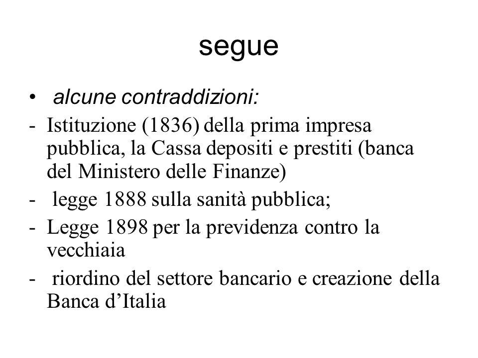 segue alcune contraddizioni: -Istituzione (1836) della prima impresa pubblica, la Cassa depositi e prestiti (banca del Ministero delle Finanze) - legg