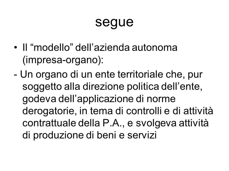 """segue Il """"modello"""" dell'azienda autonoma (impresa-organo): - Un organo di un ente territoriale che, pur soggetto alla direzione politica dell'ente, go"""
