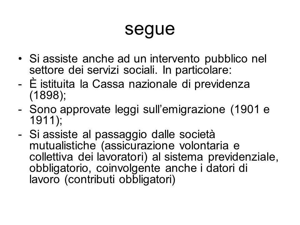 segue Si assiste anche ad un intervento pubblico nel settore dei servizi sociali. In particolare: -È istituita la Cassa nazionale di previdenza (1898)