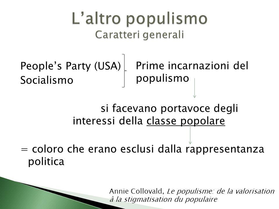 People's Party (USA) Socialismo si facevano portavoce degli interessi della classe popolare = coloro che erano esclusi dalla rappresentanza politica Prime incarnazioni del populismo Annie Collovald, Le populisme: de la valorisation à la stigmatisation du populaire