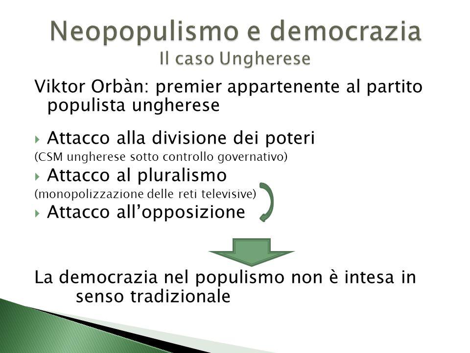 Viktor Orbàn: premier appartenente al partito populista ungherese  Attacco alla divisione dei poteri (CSM ungherese sotto controllo governativo)  Attacco al pluralismo (monopolizzazione delle reti televisive)  Attacco all'opposizione La democrazia nel populismo non è intesa in senso tradizionale