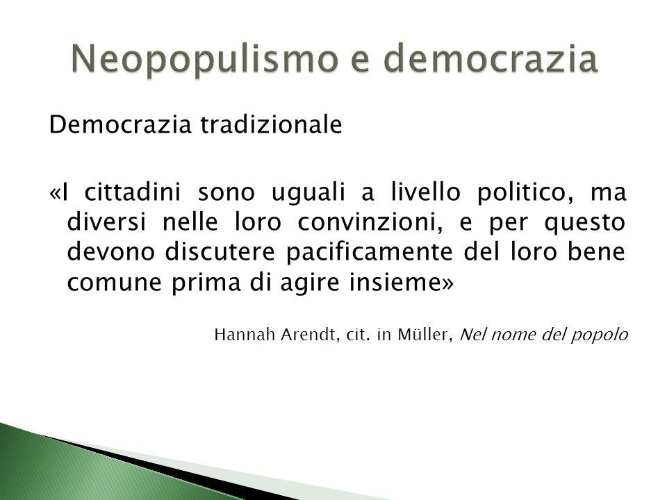 Democrazia tradizionale «I cittadini sono uguali a livello politico, ma diversi nelle loro convinzioni, e per questo devono discutere pacificamente del loro bene comune prima di agire insieme» Hannah Arendt, cit.