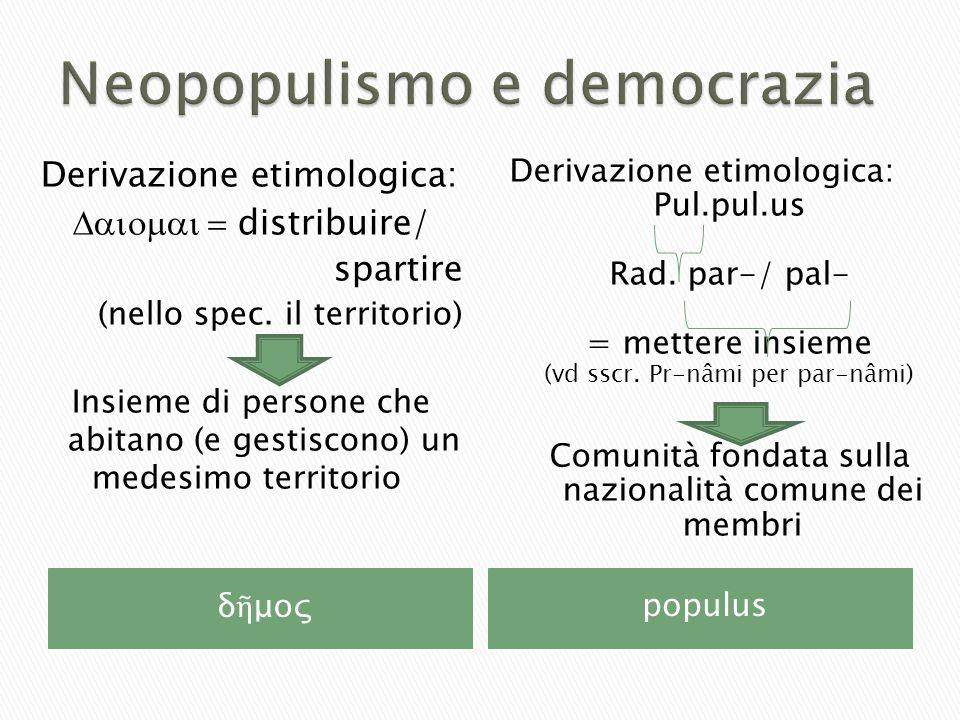 δ ῆ μοςpopulus Derivazione etimologica:  distribuire/ spartire (nello spec.