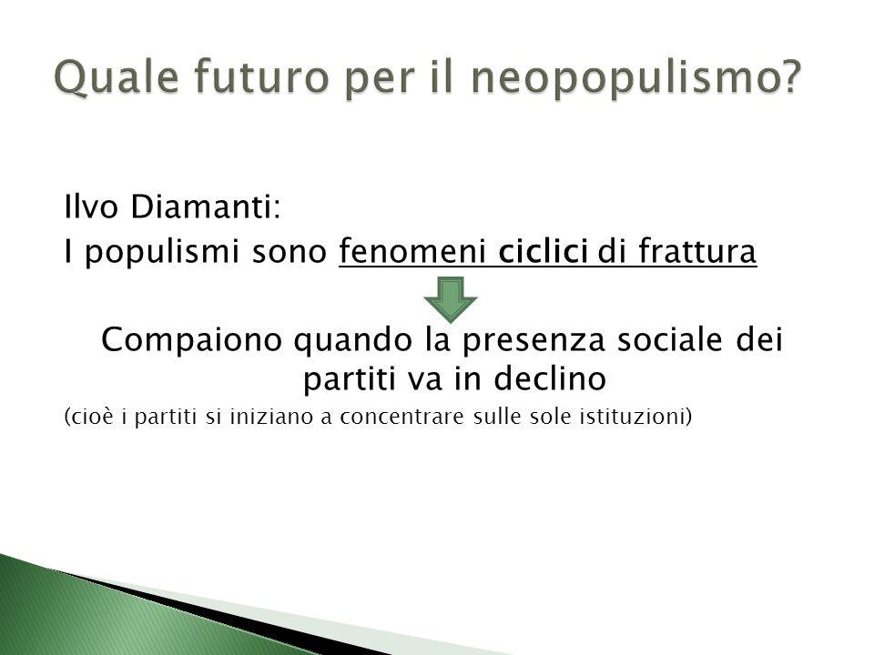 Ilvo Diamanti: I populismi sono fenomeni ciclici di frattura Compaiono quando la presenza sociale dei partiti va in declino (cioè i partiti si iniziano a concentrare sulle sole istituzioni)