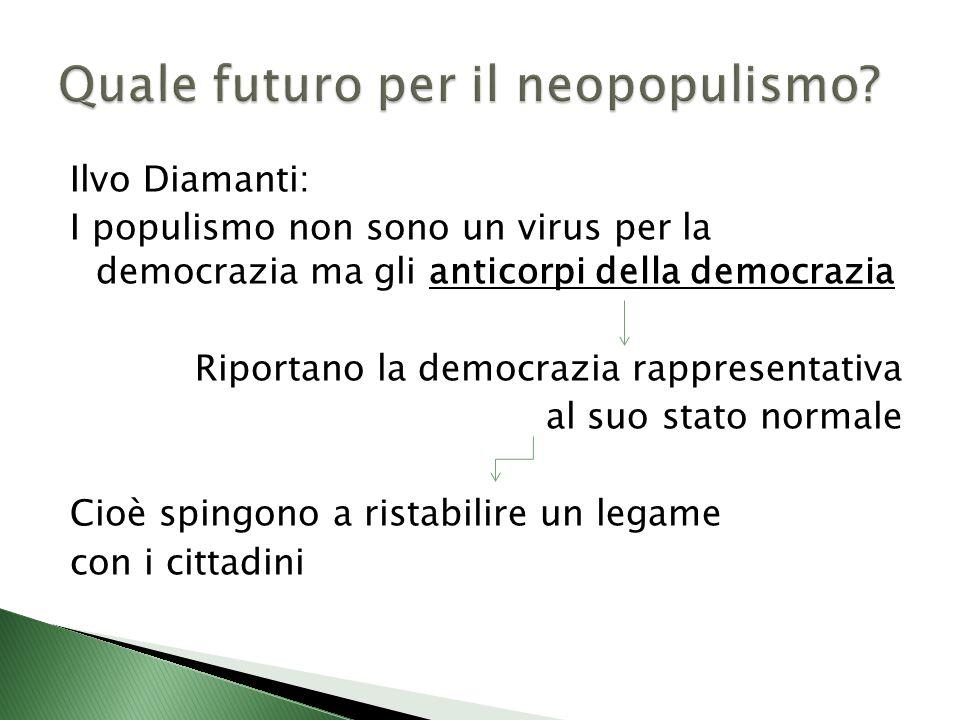 Ilvo Diamanti: I populismo non sono un virus per la democrazia ma gli anticorpi della democrazia Riportano la democrazia rappresentativa al suo stato normale Cioè spingono a ristabilire un legame con i cittadini