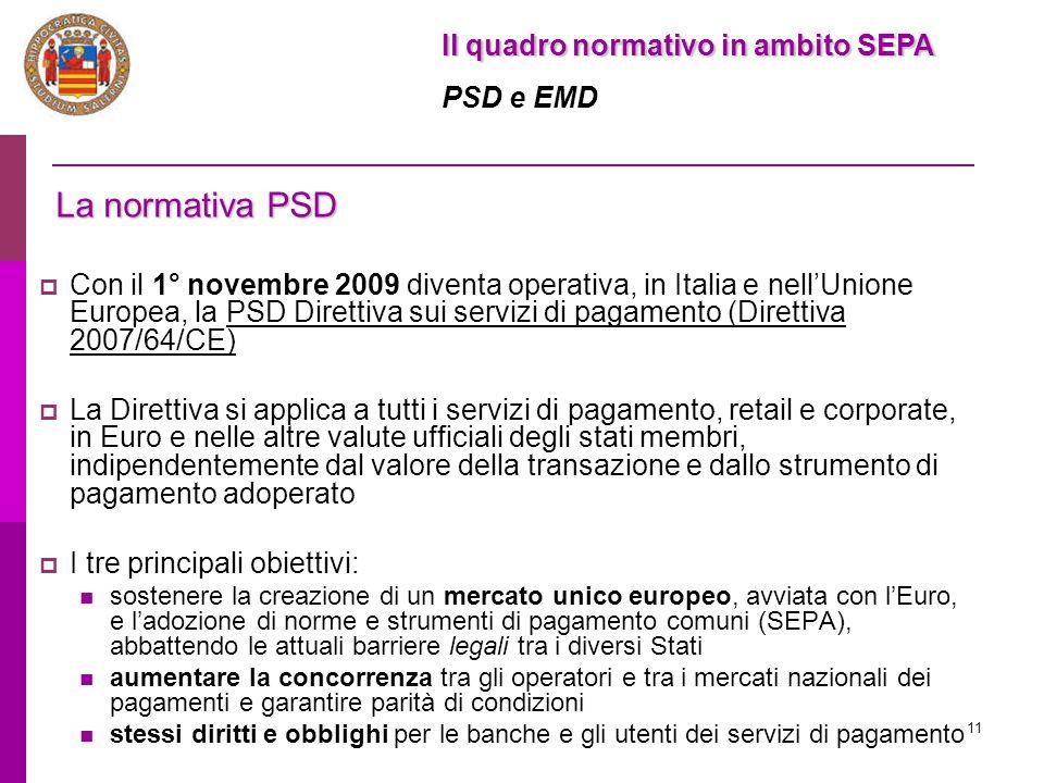 11 Il quadro normativo in ambito SEPA PSD e EMD La normativa PSD  Con il 1° novembre 2009 diventa operativa, in Italia e nell'Unione Europea, la PSD