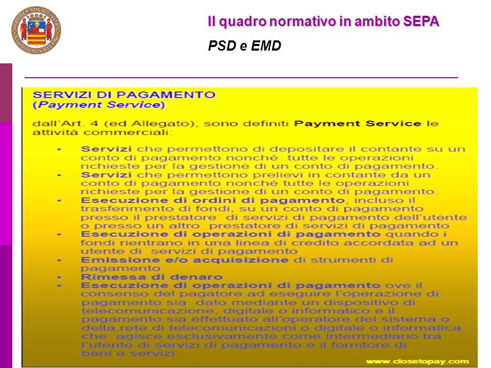 13 Il quadro normativo in ambito SEPA PSD e EMD