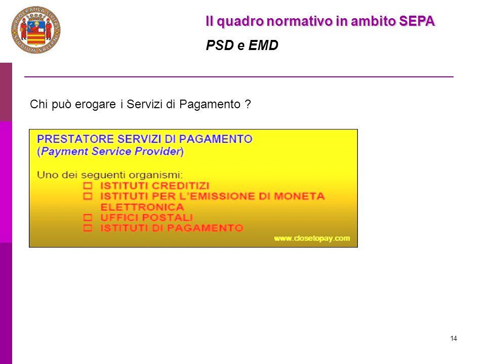 14 Il quadro normativo in ambito SEPA PSD e EMD Chi può erogare i Servizi di Pagamento ?