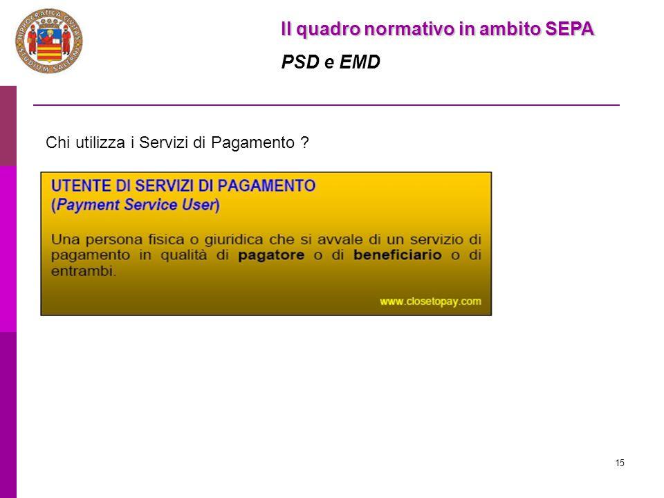 15 Il quadro normativo in ambito SEPA PSD e EMD Chi utilizza i Servizi di Pagamento ?